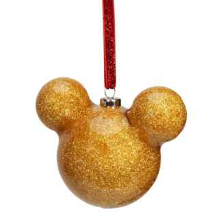 Disney Mickey Mouse Gold Glitter Bauble 6cm Product Image