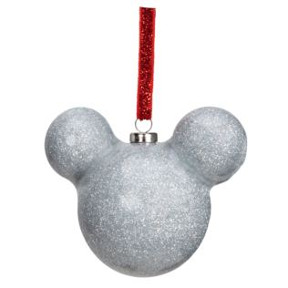 Disney Mickey Mouse Silver Glitter Bauble 6cm Product Image