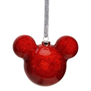 Disney Mickey Mouse Red Glitter Bauble 6cm Product Image