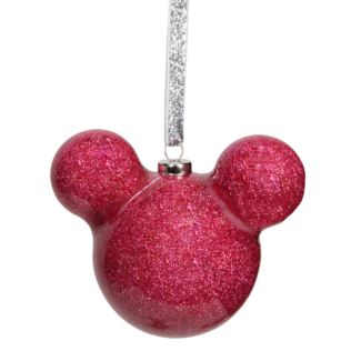 Disney Mickey Mouse Pink Glitter Bauble Product Image