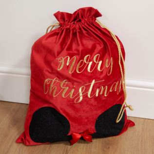 Luxury Red Velvet Disney Christmas Gift Sack - Minnie Product Image