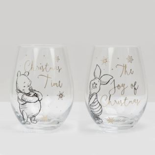 Disney Set of 2 Christmas Glasses - Pooh & Piglet Product Image