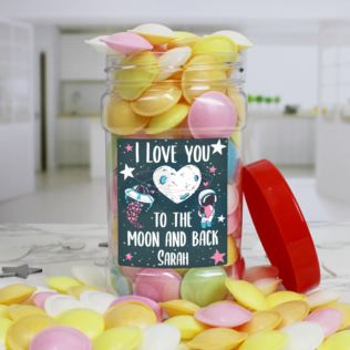Personalised I LOVE YOU Flying Saucers Sweet Jar Product Image