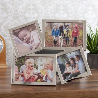 Shiny Silver Four Aperture Photo Frame Product Image