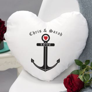 Love Anchor Heart Shaped Personalised Cushion Product Image