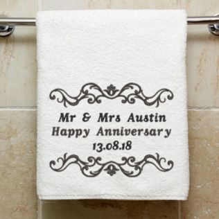 Personalised Embroidered Anniversary Towel Product Image