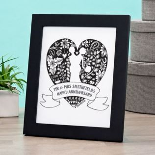 Exclusive Personalised  Anniversary Doodle Heart Print by DoodleDeb Product Image