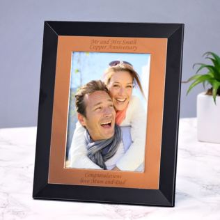 Personalised Black and Copper Finish Photo Frame Product Image