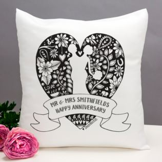 Exclusive Personalised Anniversary Doodle Heart Cushion by DoodleDeb Product Image
