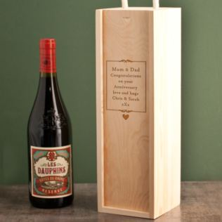 Personalised Wedding Anniversary Wooden Wine Box Product Image
