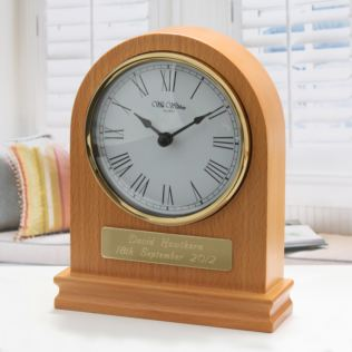 Personalised Arched Wooden Mantel Clock Product Image