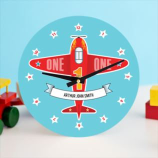 Personalised Childrens Aeroplane Clock Product Image