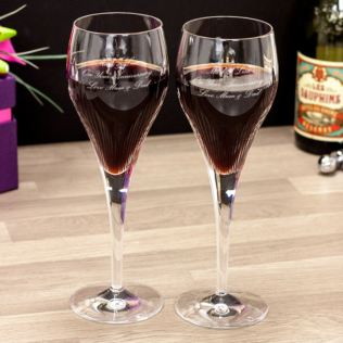 Pair Of Personalised 24% Lead Crystal Luxury Shard Wine Glasses Product Image