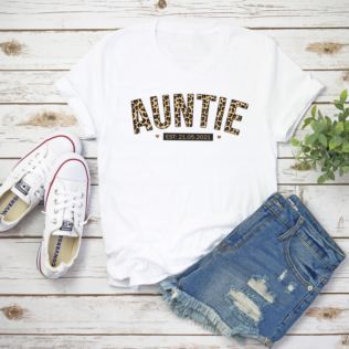 Personalised Leopard Print Auntie T-Shirt Product Image
