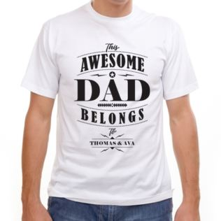 Personalised This Awesome Dad Belongs To T-Shirt Product Image