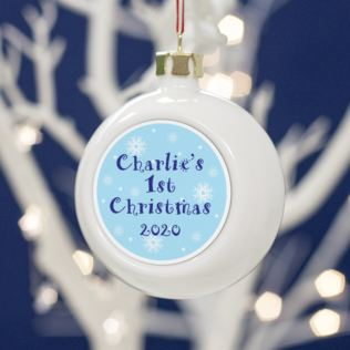 Baby Boys Personalised First Christmas Bauble Product Image