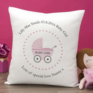 Personalised Baby Girl Birth Cushion Product Image