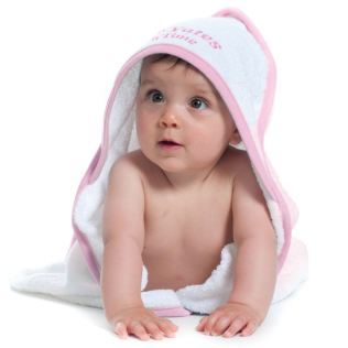 Personalised Embroidered Baby's White With Pink Trim Hooded Towel Product Image
