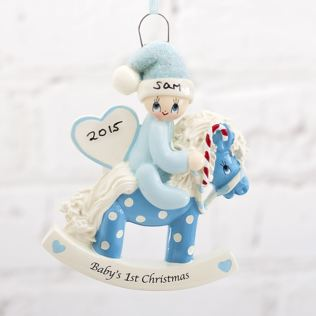 Personalised Baby's 1st Christmas Blue Rocking Horse Hanging Ornament Product Image