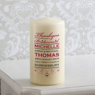 Personalised Beautiful Bridesmaid Wedding Candle Product Image