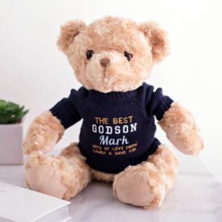 Personalised Embroidered Godson Teddy Bear Product Image