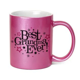 Personalised Best Grandma Ever Sparkly Pink Mug Product Image