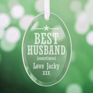 Personalised Best Husband Oval Hanging Glass Ornament Product Image