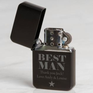 Personalised Best Man Black Petrol Lighter Product Image