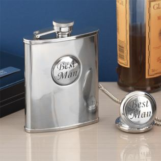 Best Man Chrome Hip Flask & Pocket Watch Gift Set in Personalised Box Product Image