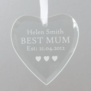 Best Mum Personalised Glass Heart Product Image