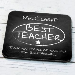 Personalised Best Teacher Chalk Board Coaster Product Image