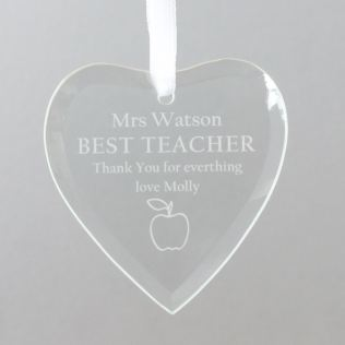 Personalised Teacher Glass Heart Product Image