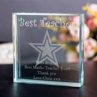 Best Teacher Personalised Glass Keepsake Product Image