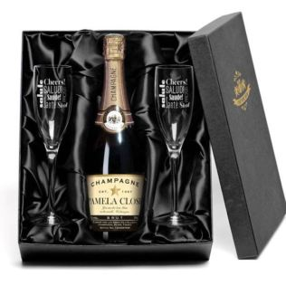 Champagne with Personalised Label and Flutes Gift Set Product Image