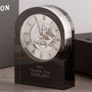 Personalised Dartington Curve Black Crystal Clock Product Image