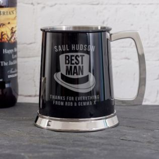 Personalised Best Man Black Tankard Product Image