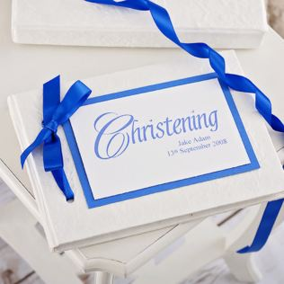 Personalised Handmade Christening Album - Blue Design Product Image