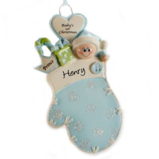 Personalised Baby's 1st Christmas Mitten Blue Hanging Ornament Product Image