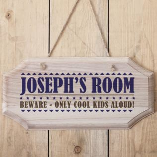 Personalised Boys Name Hanging Wooden Sign Product Image