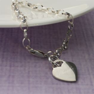 Sterling Silver Link Bracelet With Heart in Personalised Box Product Image