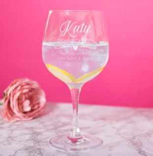 Personalised Bridesmaid Gin Glass Product Image