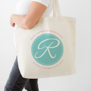 Personalised Bridesmaid Initial Cream Tote Bag Product Image