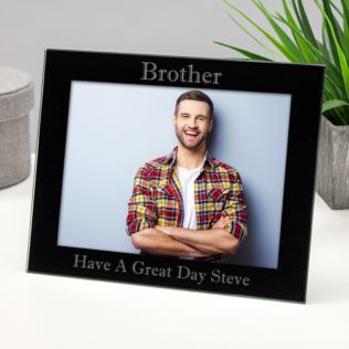 Personalised Brother Black Glass Photo Frame Product Image
