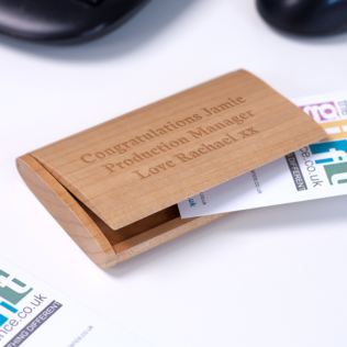 Luxury Personalised Maple Wood Arched Business Card Holder Product Image