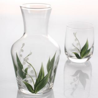 Hand Painted Carafe Set - Lily of The Valley Product Image