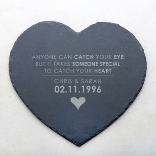 Personalised Catch Your Heart Slate Heart Placemat Product Image