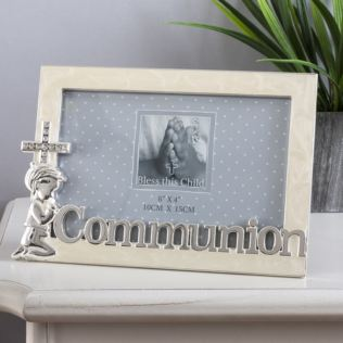 Bless This Child Silverplated Communion Frame - Boy Product Image