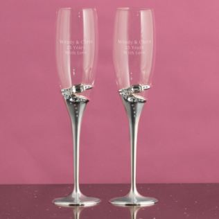Personalised Pair Of Luxury Rings Champagne Flutes Product Image