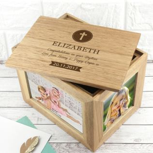 Personalised Christening Cross Midi Oak Photo Cube Keepsake Box Product Image