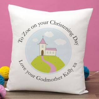 Personalised Girls Christening Cushion Product Image
